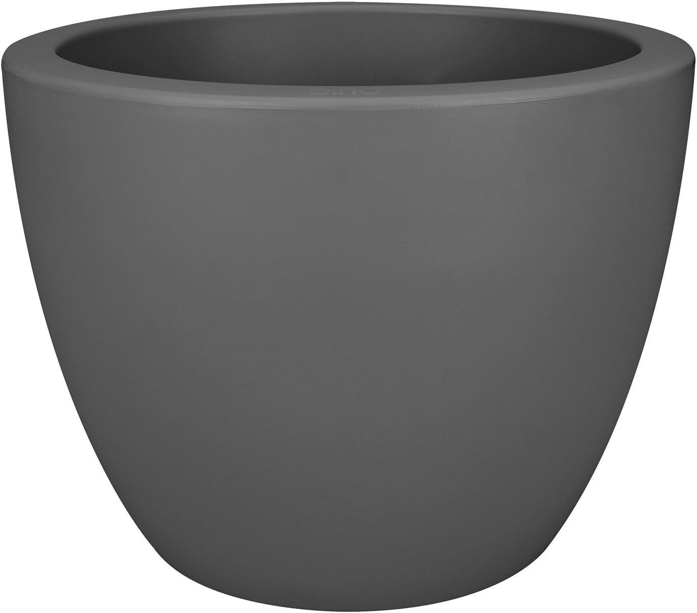 Elho Pure Soft Round Macetero Redondo con Ruedas, Antracita, 39x39x30,4 cm