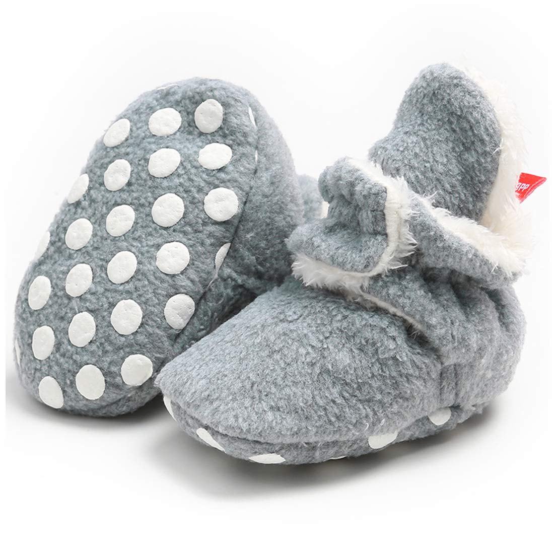CENCIRILY Newborn Baby Boys Girls Cozy Fleece Booties Soft Non Slip Grips Sole Winter Socks Crib Shoes for Infant Toddler First Walkers