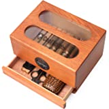 COOL KNIGHT Cigar humidor/Made of All Cedar Solid Wood/high-Capacity/with Digital Hygrometer/top Window Design of toughened G