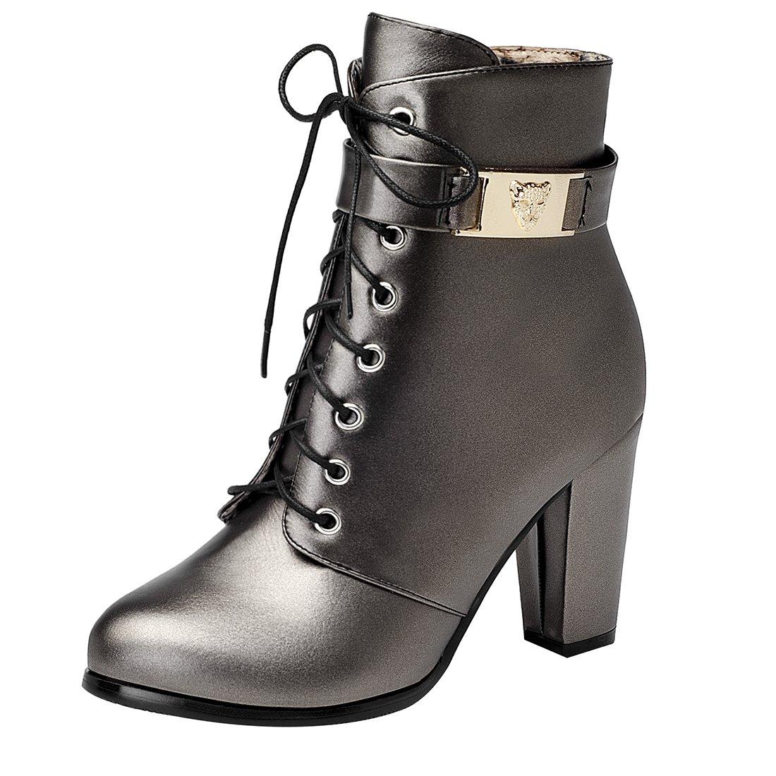 UH Damen Blockabsatz Stiefeletten Schnürung Fell Spitze Ankle Boots mit Fell Schnürung und Reißverschluss Warm Schuhe Kupfer 84a52e