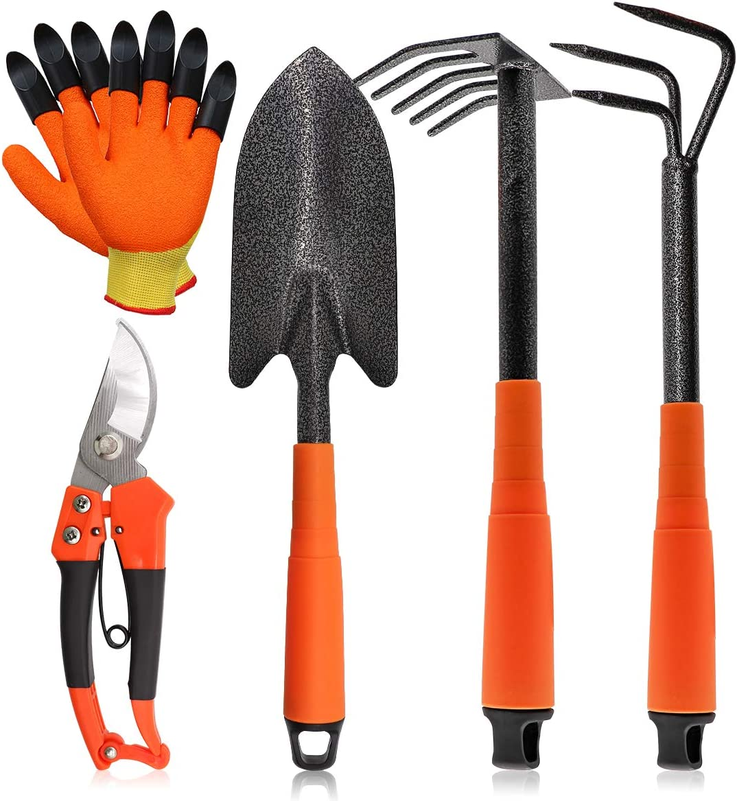 ZHM 5 Piece Garden Tool Set, Heavy Duty Garden Tool Kit with Mini Hand Cultivator, Shovel, Five-Tooth Harrow, Steel Bypass Pruning Shears and Garden Digging Gloves, Great for Working on Soil