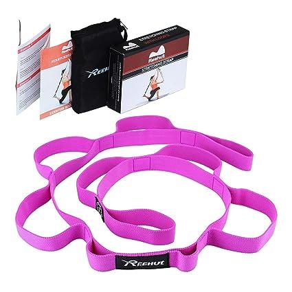 REEHUT Correa Yoga & Stretch Strap 279cm x 3cm - con 10 Ojales Amplios - Yoga Strap para Yoga, Terapia Física, Fitness con Libro de Instrucciones y ...