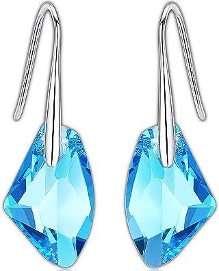 Elegant Green Swarovski Heart Crystals /& Sterling Silver Dangly Stud Earrings