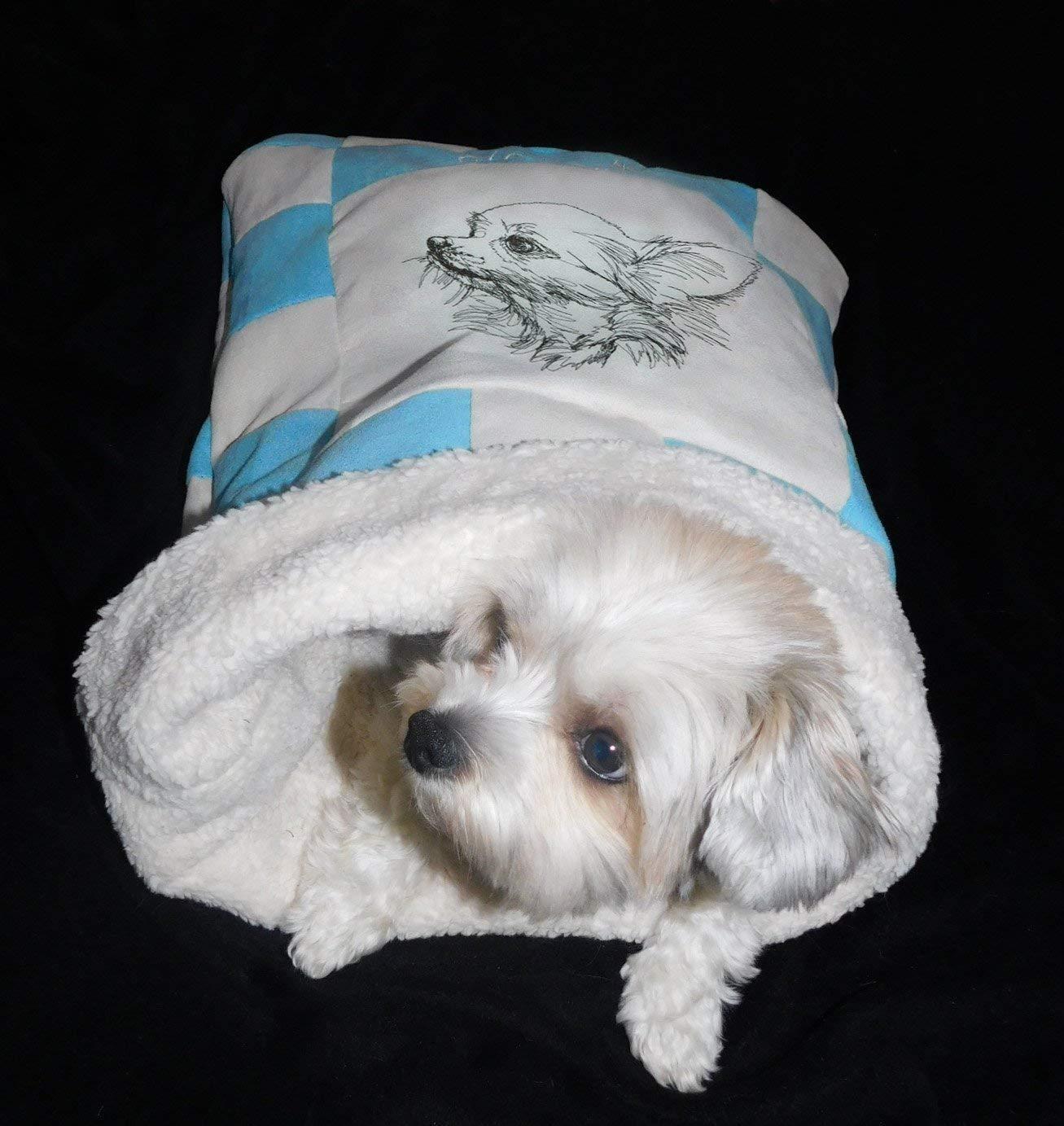 LunaChild Hunde Kuschelhöhle Chihuahua 3 Hundebett Name Snuggle Bag Größe S M L oder XL in vielen Farben erhältlich