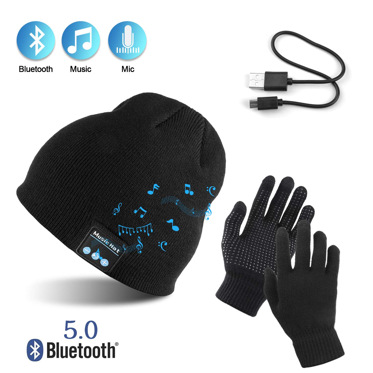 AYPOW Bluetooth Beanie with Touchscreen Gloves Set, Winter Warm Knitted Wireless Bluetooth Headset Music Hat for Running Skiing Hiking