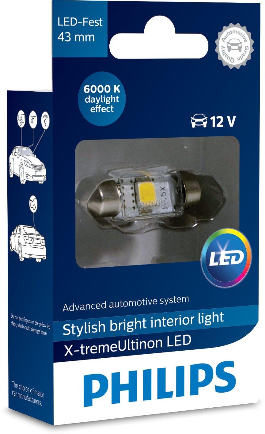 Philips 12946I60X1 X-tremeUltinon LED Luce per abitacolo C5W 43mm Festoon 6000K 12V, 1 Pezzo, Xenon White, 43 mm Lumileds Germany GmbH