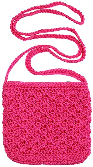 Amazon.com: Girls Crochet Bag With Strap Hot Pink: Shoulder Handbags: Clothing