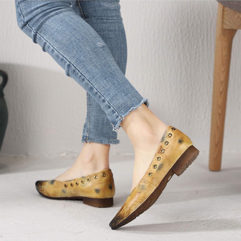 Damen niedrige Ferse Spitze Zehe Slipper Müßiggänger Bequeme Vintage Slipper Zehe aus echtem Leder Mode lässig Flache Pumps Frühling und Sommer a3860d