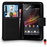 Sony Xperia M Case - Premium Leather BLACK Wallet Flip Case Cover Pouch with Mini Touch Stylus Pen RED Dust Stopper Screen Protector & Polishing Cloth SVL1, (WALLET BLACK)