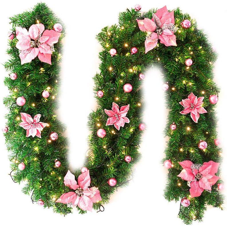 Ruikey 270CM Guirlande de Sapin Noel,Rotin de No/ël Artificiel avec Fleurs D/écoration de No/ël Ext/érieur