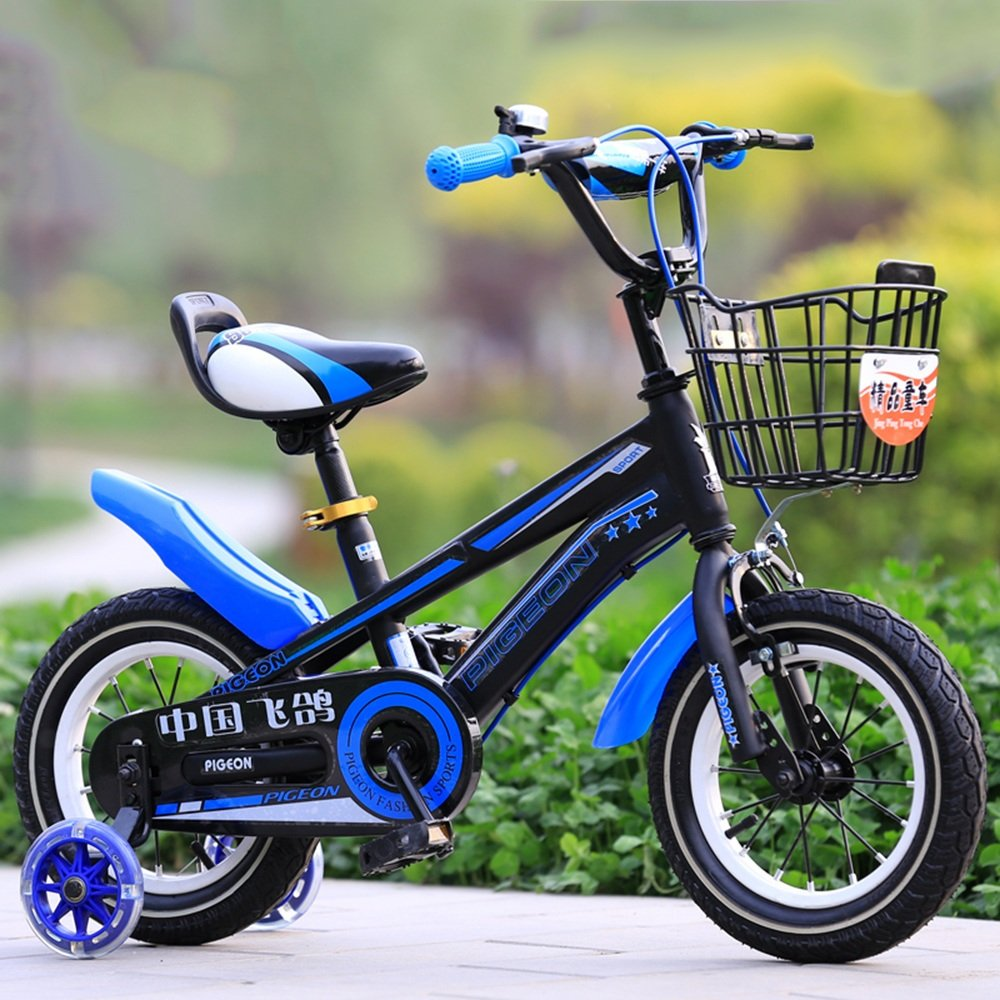 HAIZHEN マウンテンバイク フリースタイルキッズバイク、トレーニングホイール、12インチ、14インチ、16インチ、18インチ、ボーイのバイクとガールズバイク、子供のためのギフト 新生児 B07C3Z5TXN 12 inch|青 青 12 inch