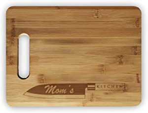 Mom's Kitchen Laser Engraved Custom Bamboo Cutting Board - Wedding, Housewarming, Anniversary, Birthday, Holiday, Gift
