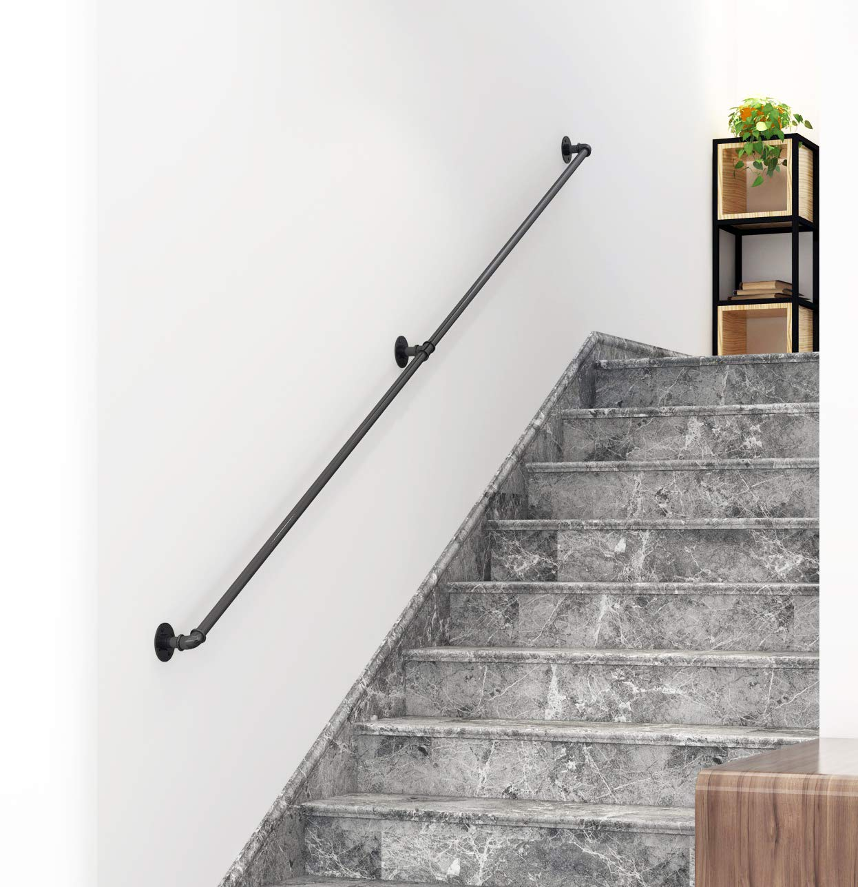 DIYHD 11FT Stair Black Pipe Handrail with 3 Wall Mount Supports,Rustic Black,Round Corner Style by DIYHD