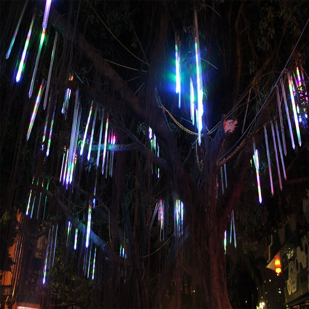 JULED Meteor Shower Rain Lights,Drop/Icicle Snow Falling Raindrop 30cm 8 Tubes Waterproof Cascading lights for Wedding Xmas Home Decor (Multi-color) by JULED