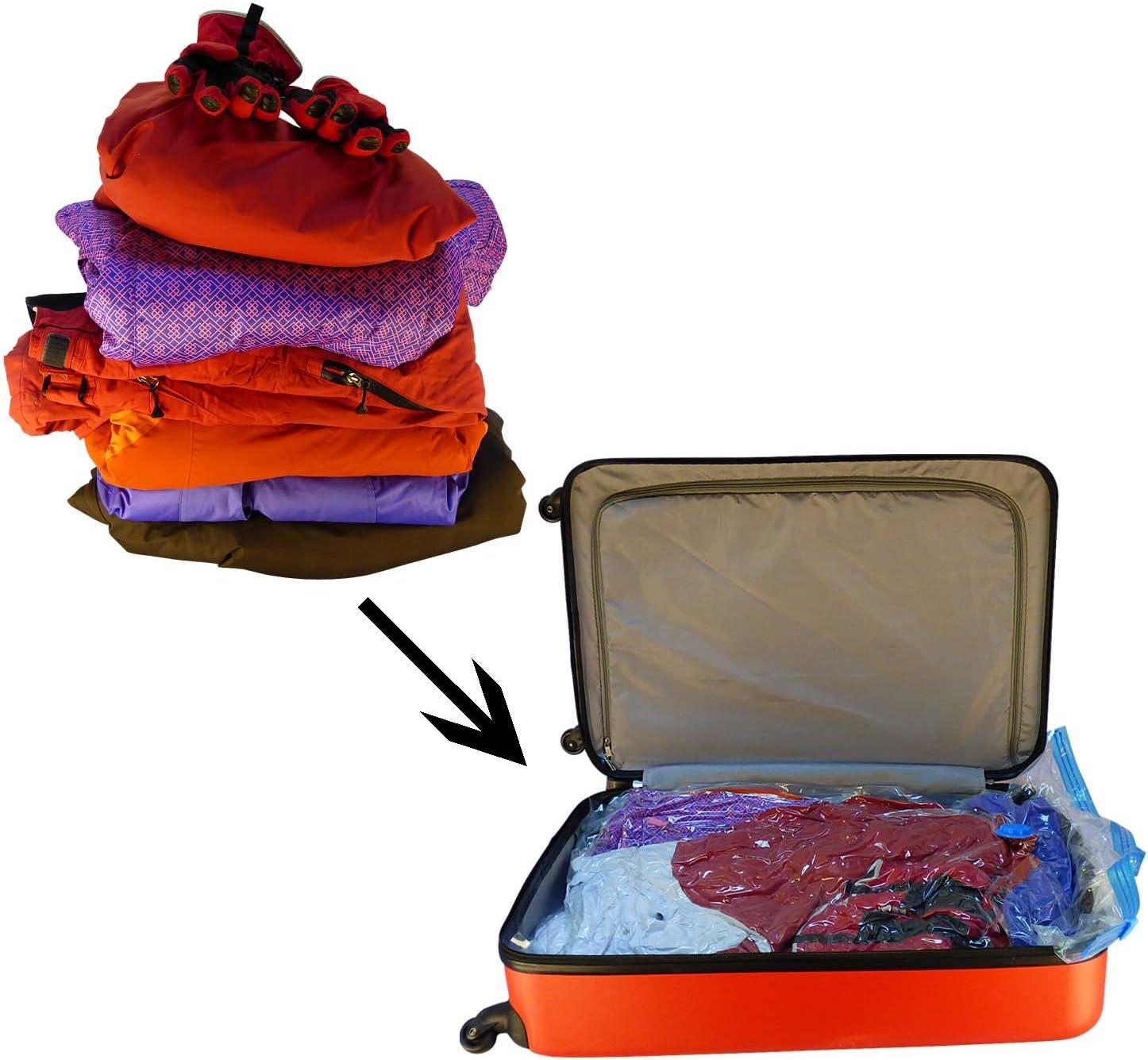 Premium Vacuum Bag, 6 Pack Vacuum Bag Clothes include Air Pump for travel, V8D7