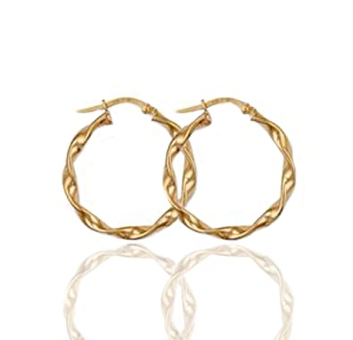4c53c20ef1adb 9ct Gold Cable Twist Creole Hoop Earrings. 1.2g.: Amazon.co.uk ...