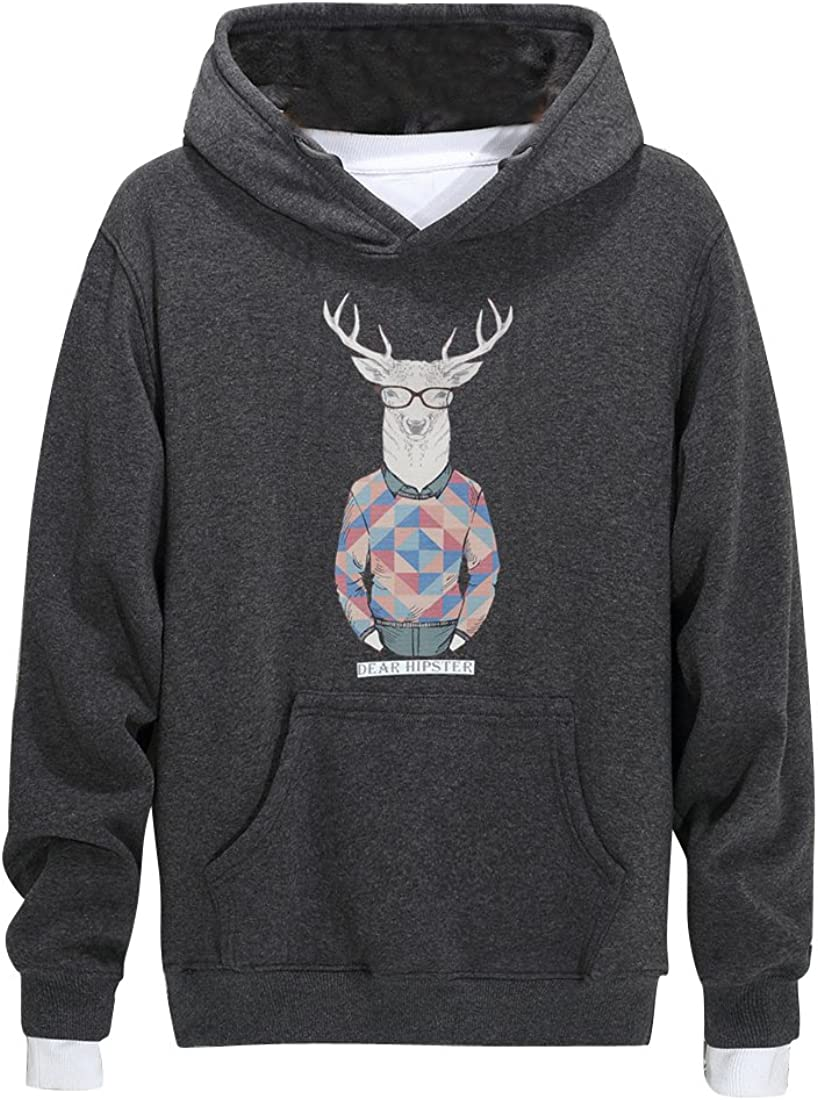 YYG Men Pockets Activewear Flannel Cotton Floral Print Thicken Relaxed Fit Pullover Hooded Sweatshirt