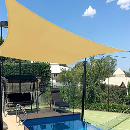 Brown Deluxe Rectangle Sun Shade Sail UV Pool Top Outdoor Canopy Patio Awning