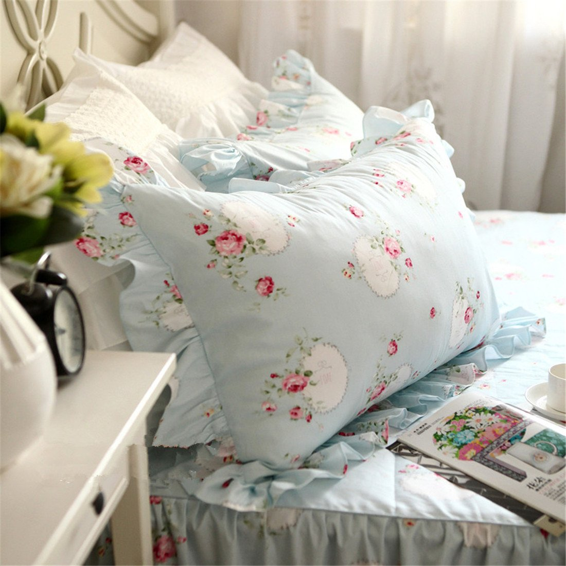 Lotus Karen 100%Cotton Blue Pastoral Flowers 4PC Floral Bed Sheet Set Ruffles Korean Bedding Set With Romantic Love Letters Patterns For Wedding Bedding King,1Duvet Cover,1Bedskirt,2Pillowcases by Lotus Karen (Image #6)