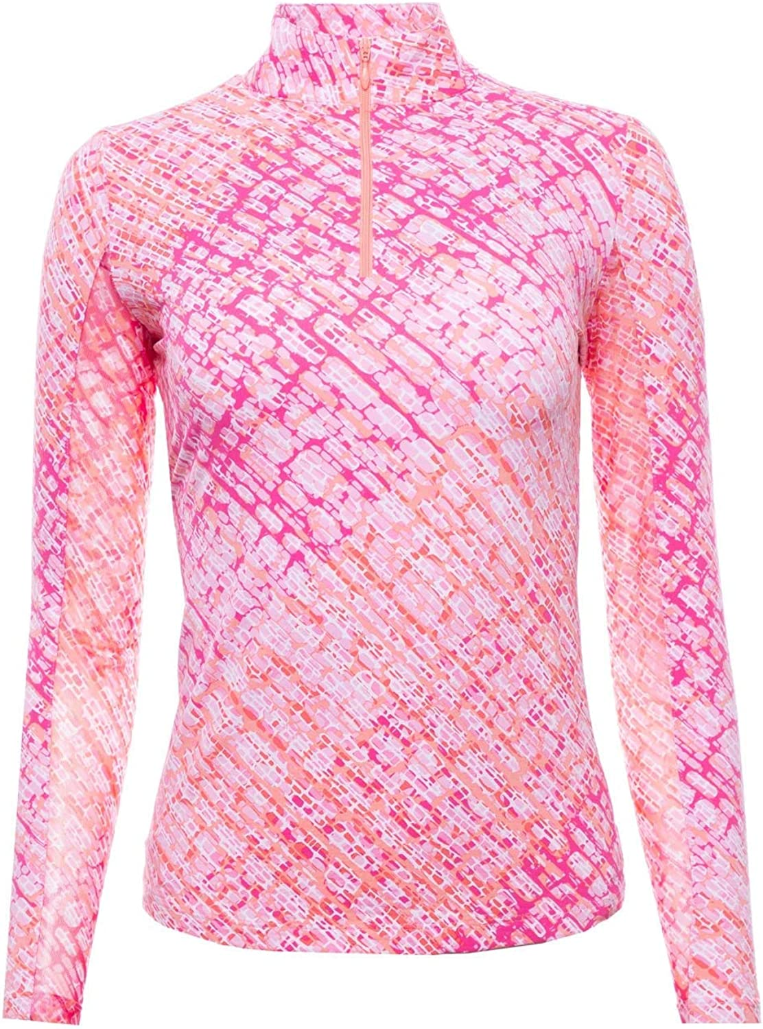 Ibkul Women's Geo Key Print 1/2 Zip Golf Pullover