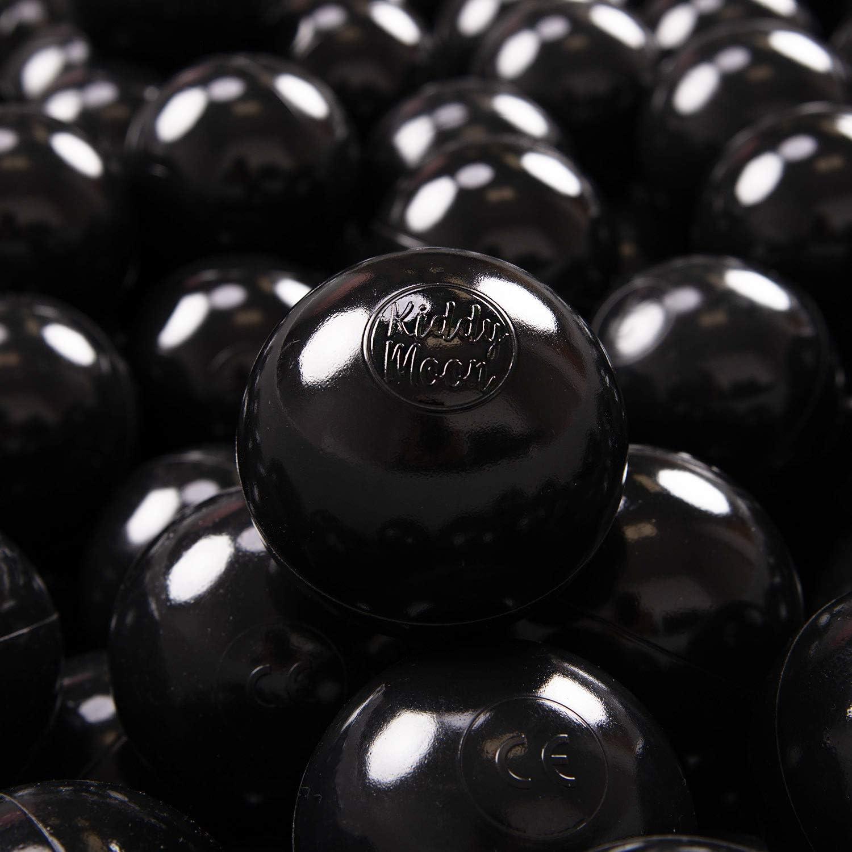 KiddyMoon 100 ∅ 7Cm Bolas Colores De Plástico para Piscina Certificadas para Niños, Negro