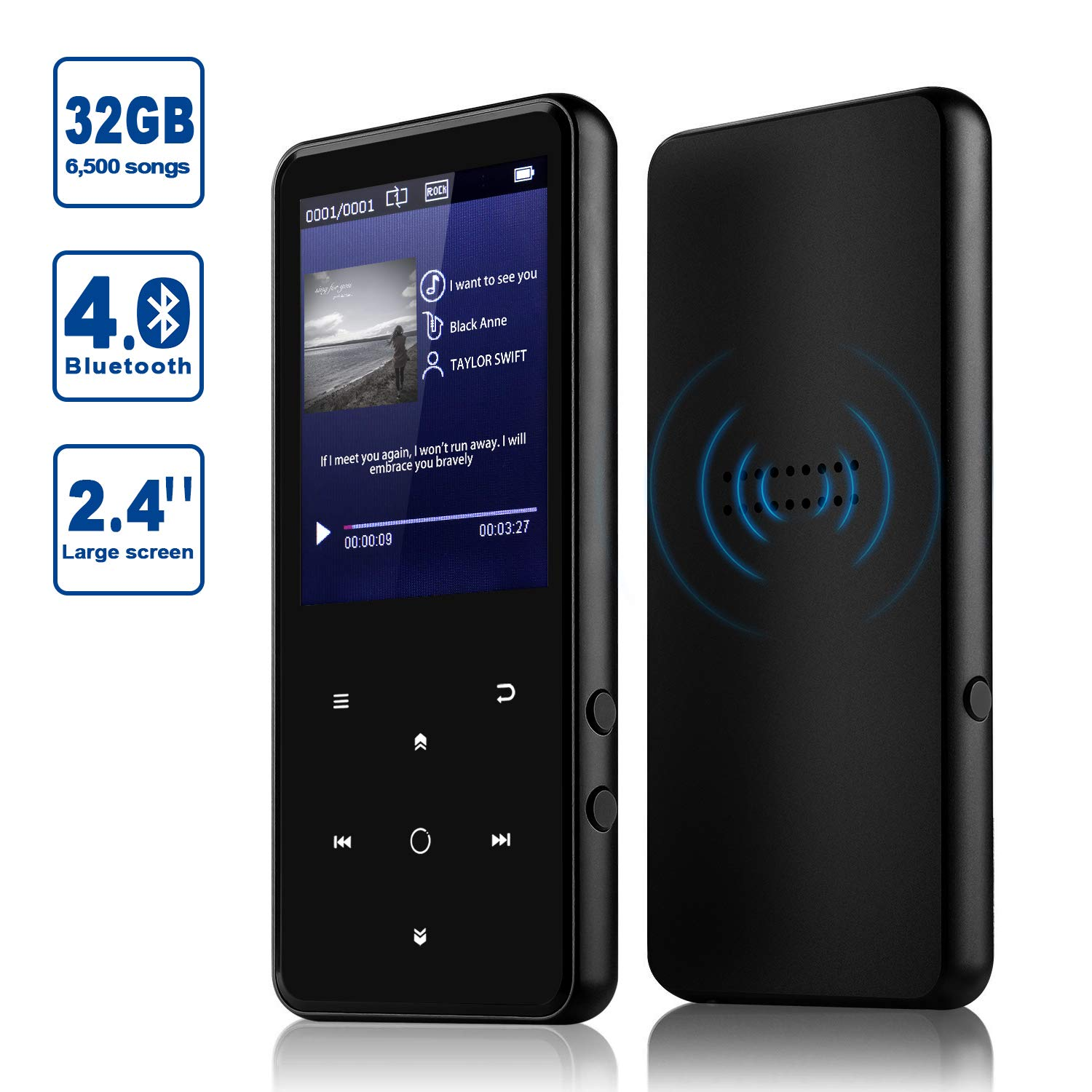 MP3 Player, Alptory 32GB MP3 Player with Bluetooth 4.0,Portable Sports Music Player 2.4'' Screen Built-in Speaker with Voice Recorder,Video Player,FM Radio,Text Reading, HiFi Lossless Sound
