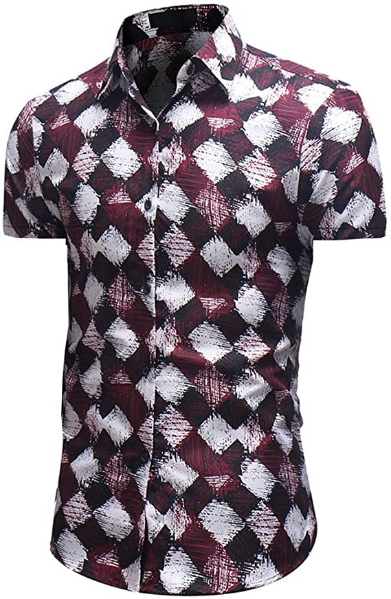 Kanpola - Camisa Hawaiana para Hombre, Slim Fit Vintage Floral Estampado de Manga Corta – Florida + Hawaii Rojo Negro M-3XL Rojo Intenso XL: Amazon.es: Ropa y accesorios