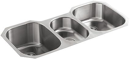 KOHLER K 3166 NA Undertone Triple Basin Undercounter Kitchen Sink,  Stainless Steel