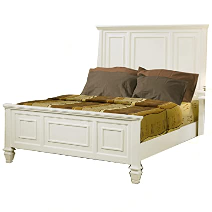 King Size Bed Cape Cod Style In White Finish
