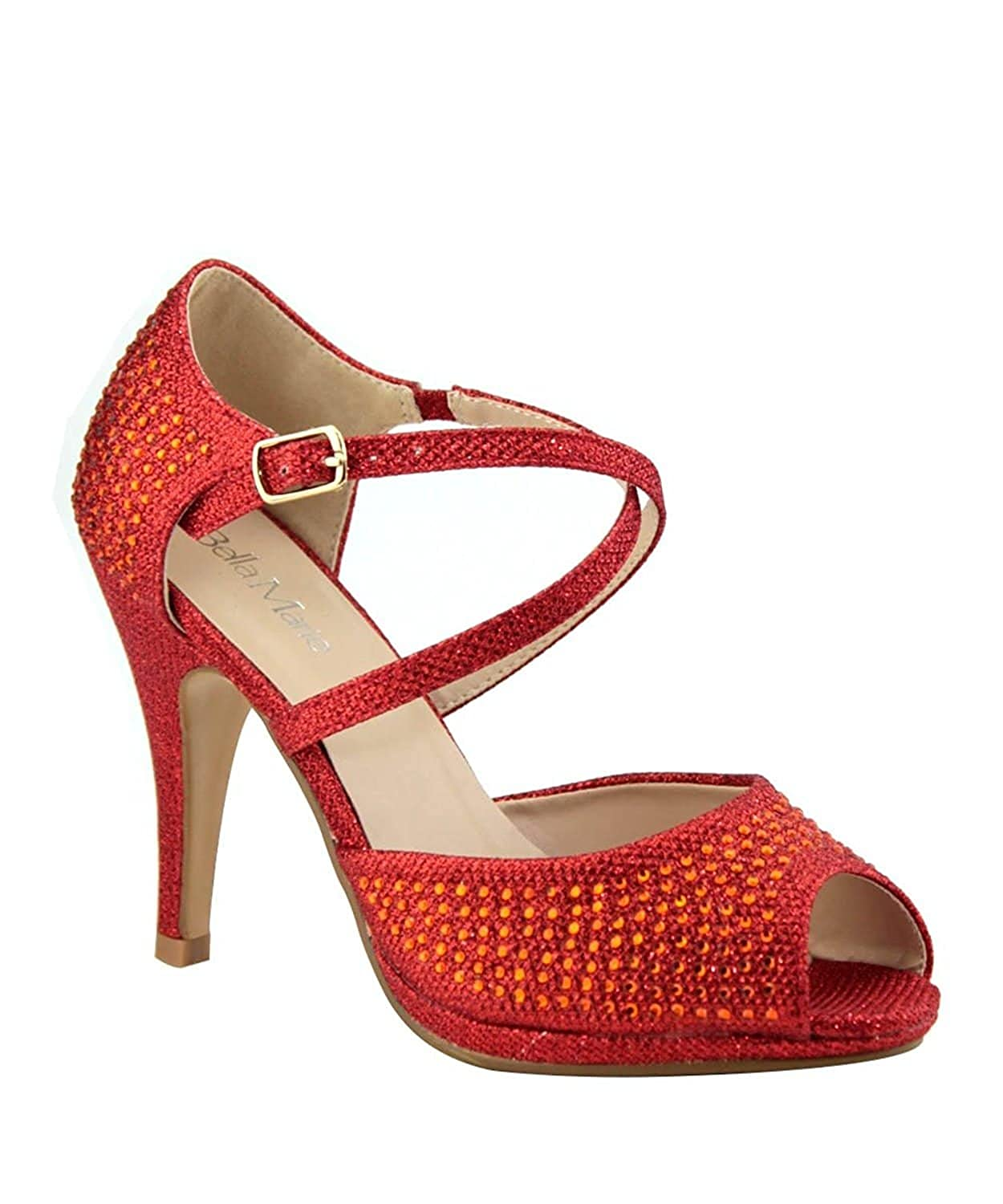 8bdb09855198 Top1  Bella Marie Shania-1 Women s Peep Toe Rhinestone Glitter Crossing  Strap Dance Sandals