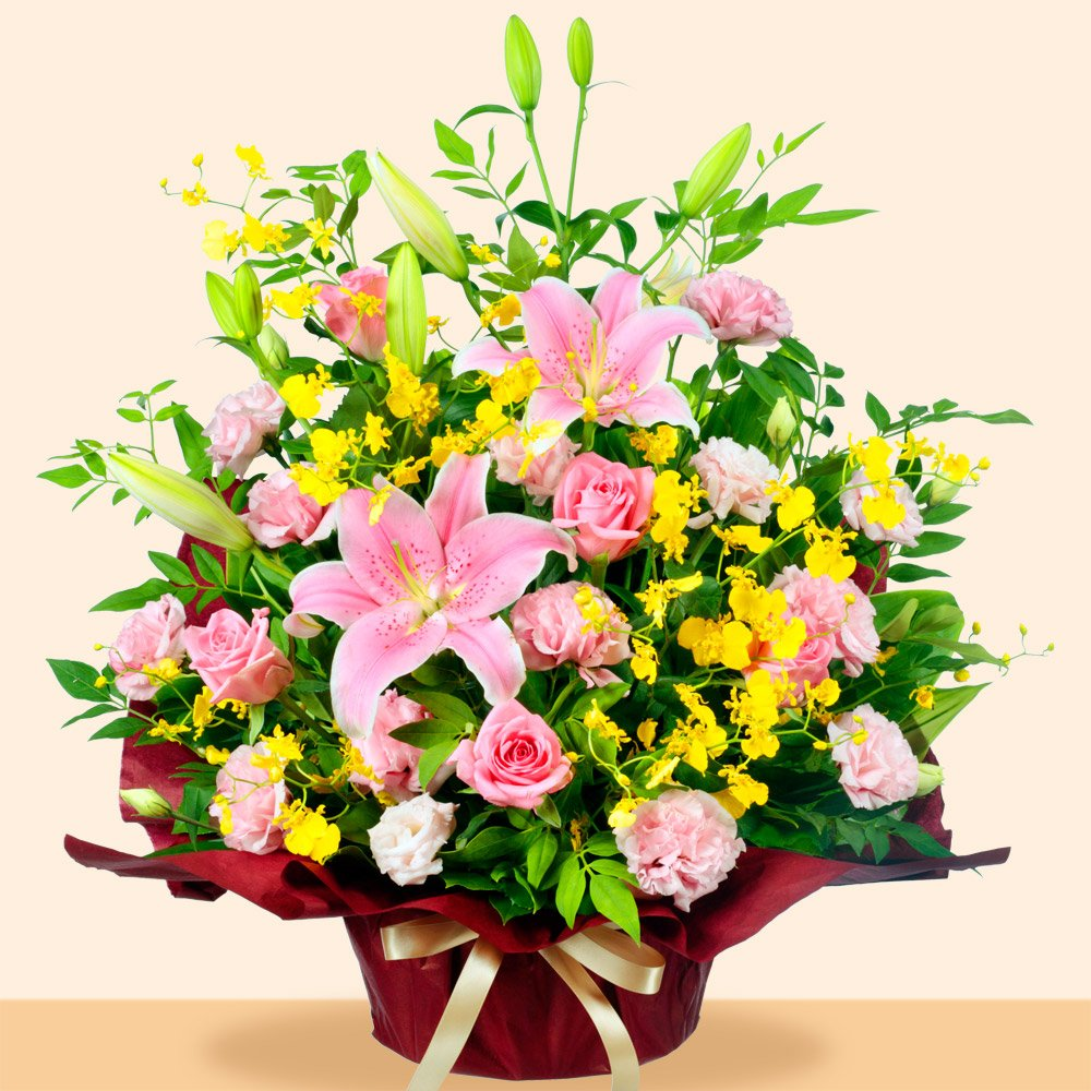 お祝い 花キューピット ピンクユリの華やかアレンジメント B01JA644VA
