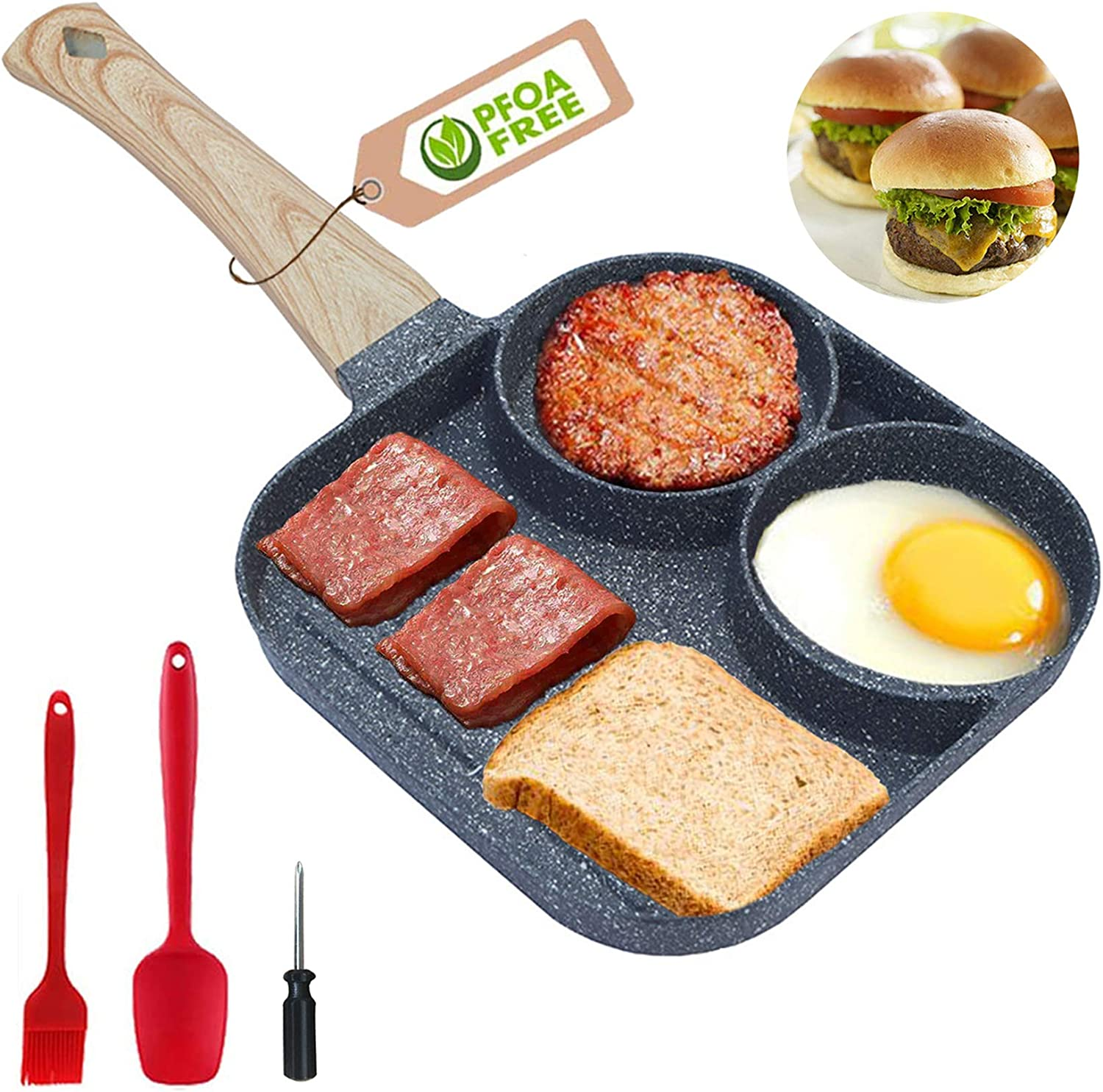 Nonstick Egg Breakfast Pan,3 Section Frying Pan,Aluminum Egg Cooker Pan for Breakfast,Burgers and Bacon, Suitable for Gas Stove & Induction Cooker