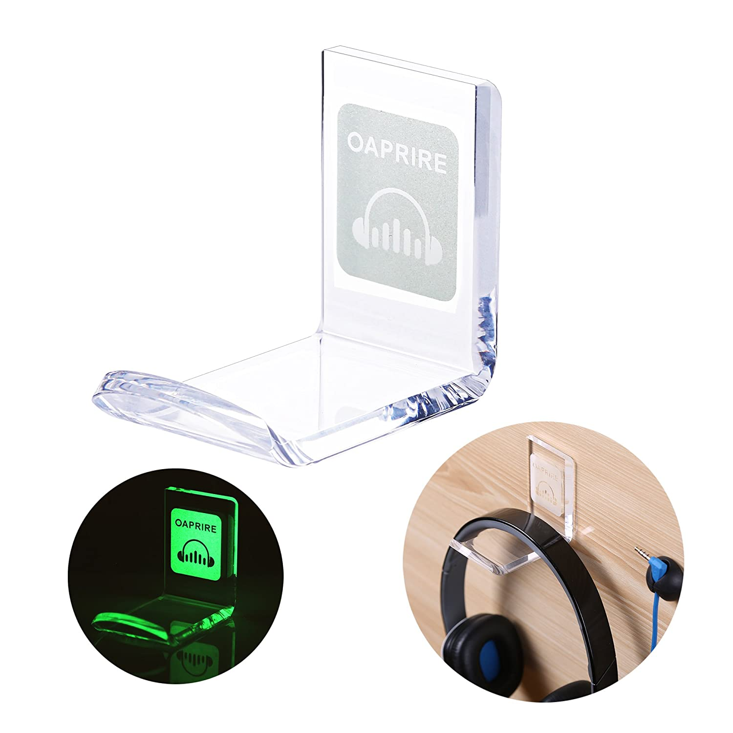 OAPRIRE Luminous Headphone Stand Hook Wall Mount with Cable Clips - 2 Pack