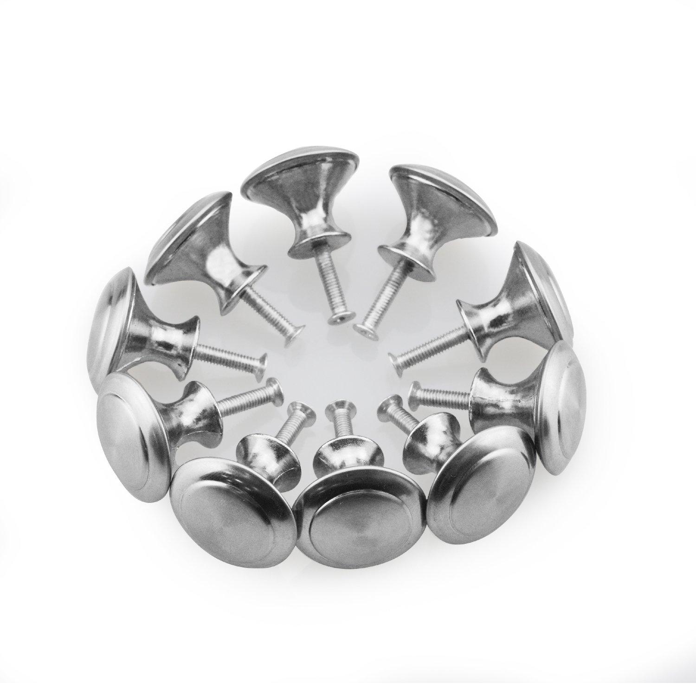 Bluesky 10Pcs Silver Tone Round Shape Furniture Pull Handle Knob Grip 28mm Dia for Cabinet Cupboard Dresser Door Drawer