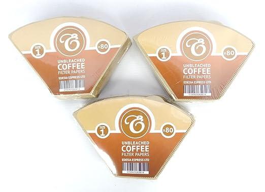 Pack de 80 filtros de papel para caf/é Sin blanquear Marr/ón Tama/ño 1 EDESIA ESPRESS Forma de cono