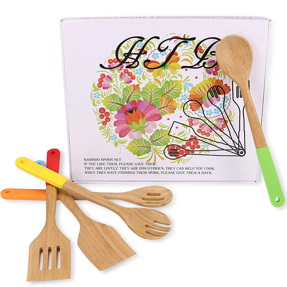 Kitchen Utensils Set with Well-designed Gift Box, 5PCS Bamboo Cooking Spoons and Spatula Set With Colorful Silicone Handles By HTB