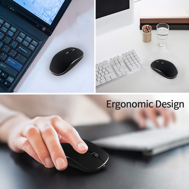 Air,iMac Jaybest Rat/ón Inal/ámbrico Bluetooth Recargable Negro PC MacBook Pro//con Windows//Android. 2.4G Dual Models Silencioso Port/átil Mouse con 3 Niveles de dpi para Computadora Port/átil