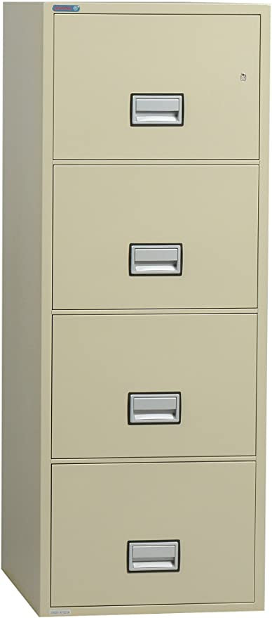 Phoenix Vertical 31 Inch 4 Drawer Legal Fireproof File Cabinet   Putty