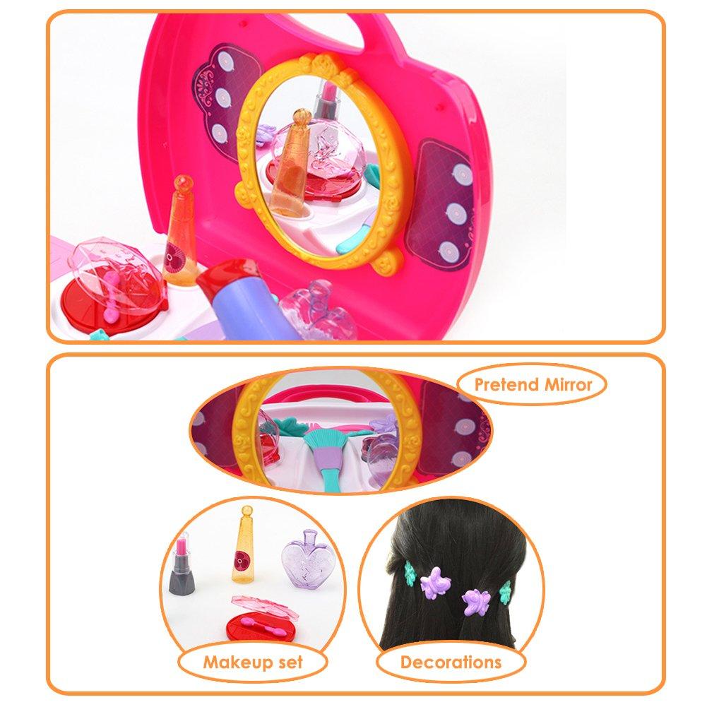 Buyger 21 Pezzi Plastica Giochi dimitazione Bellezza trucco Giocattoli Caso di Vanit/à Coiffure Asciugacapelli Principessa Set per Bambini Ragazza Valigia