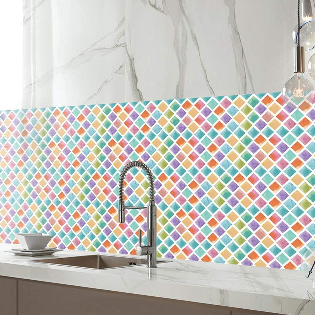 JY ART Piastrelle Adesivi Motivi Geometrici Home Decoration for Kitchen Adesivi per Piastrelle da Bagno Piastrelle a Mosaico Impermeabili Arte e Artigianato Colorato Mosaico ZHI01, 20cm*5m