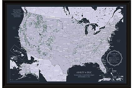 Amazoncom Personalized Usa Travel Tracker Map Custom Us National - Custom-us-map