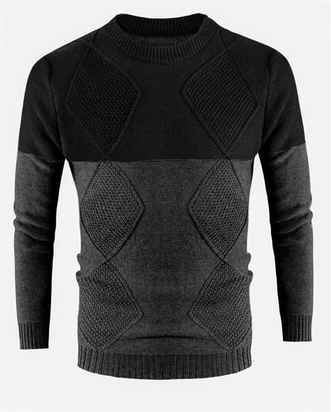 BLTR Men Contrast Crew-Neck Lightweight Casual Slim Fit Sweater Pullover