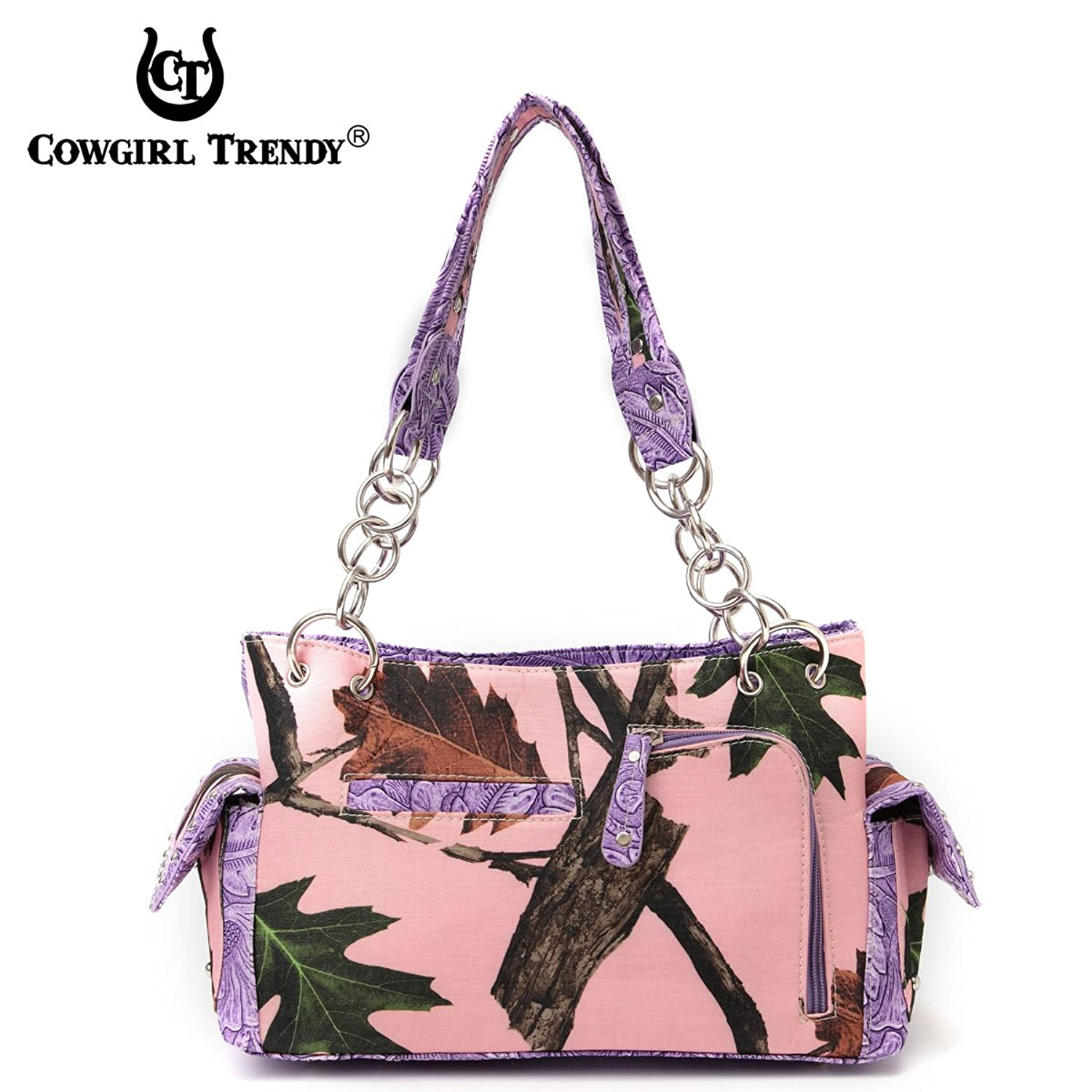 Cowgirl Trendy Western Concealed Carry Camouflage Cross Phone Case Purse Handbag Shoulder Bag Purple