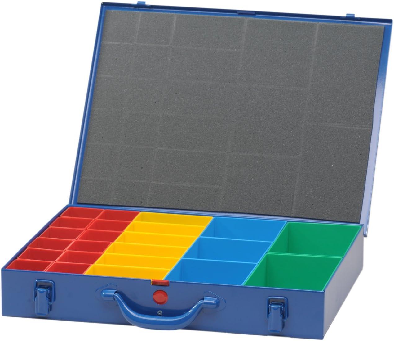 Bleu Noir Fonc/é h/ünersdorff GmbH 620800 Valises m/étalliques pour Petites pi/èces 23 casier /à ins/érer 330x440x66/mm