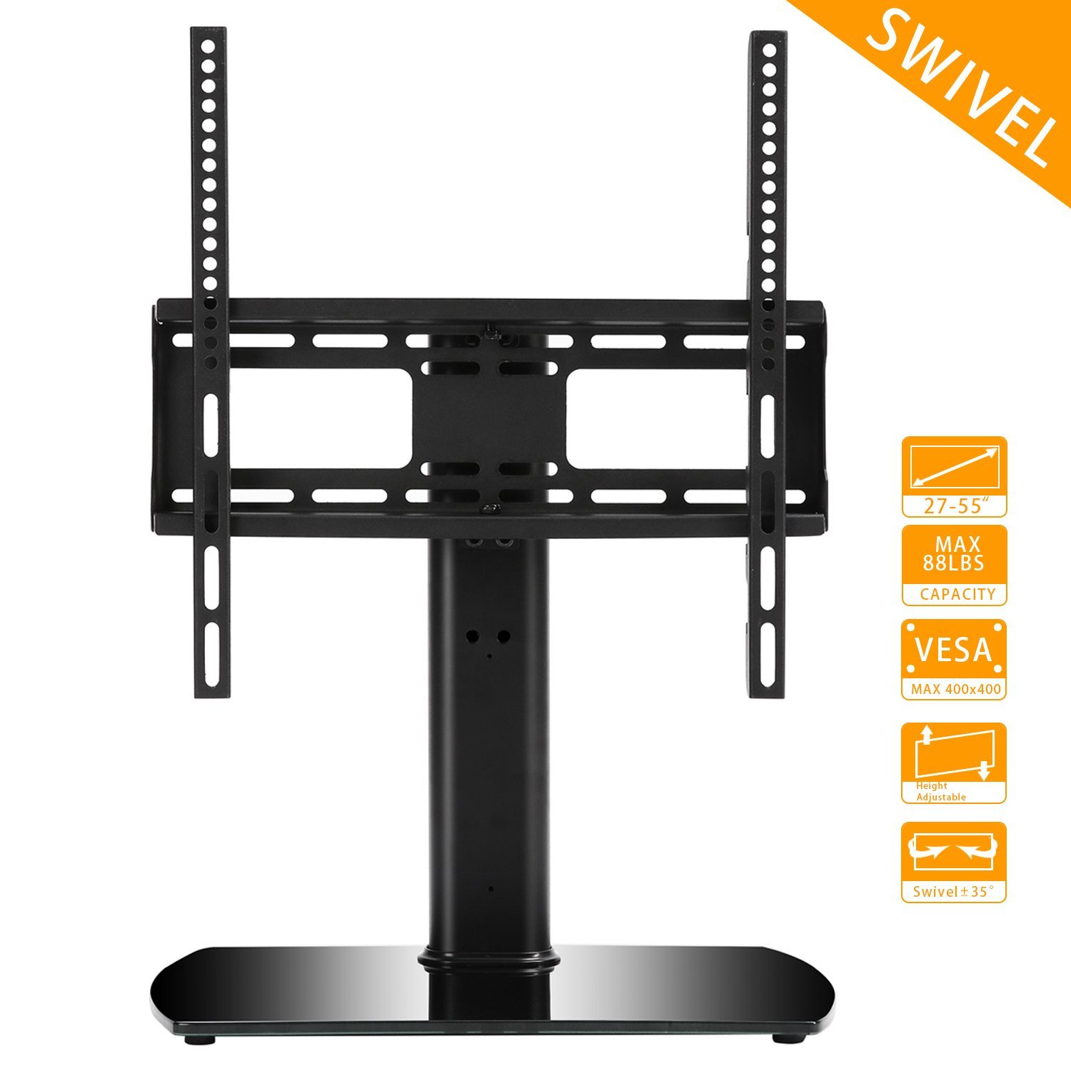 Rfiver Universal Swivel Tabletop TV Stand with Mount for 27 inch to 55 inch LED,LCD and Plasma Flat Screen TVs with Height Adjustment VESA 400x400mm, UT2002