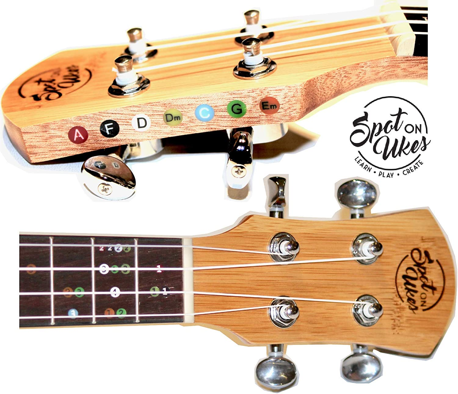 Ukulele With Built In Self-Teaching System. Spot On Ukes Beginner Uke Great Quality No Lessons needed. Bamboo Soprano…