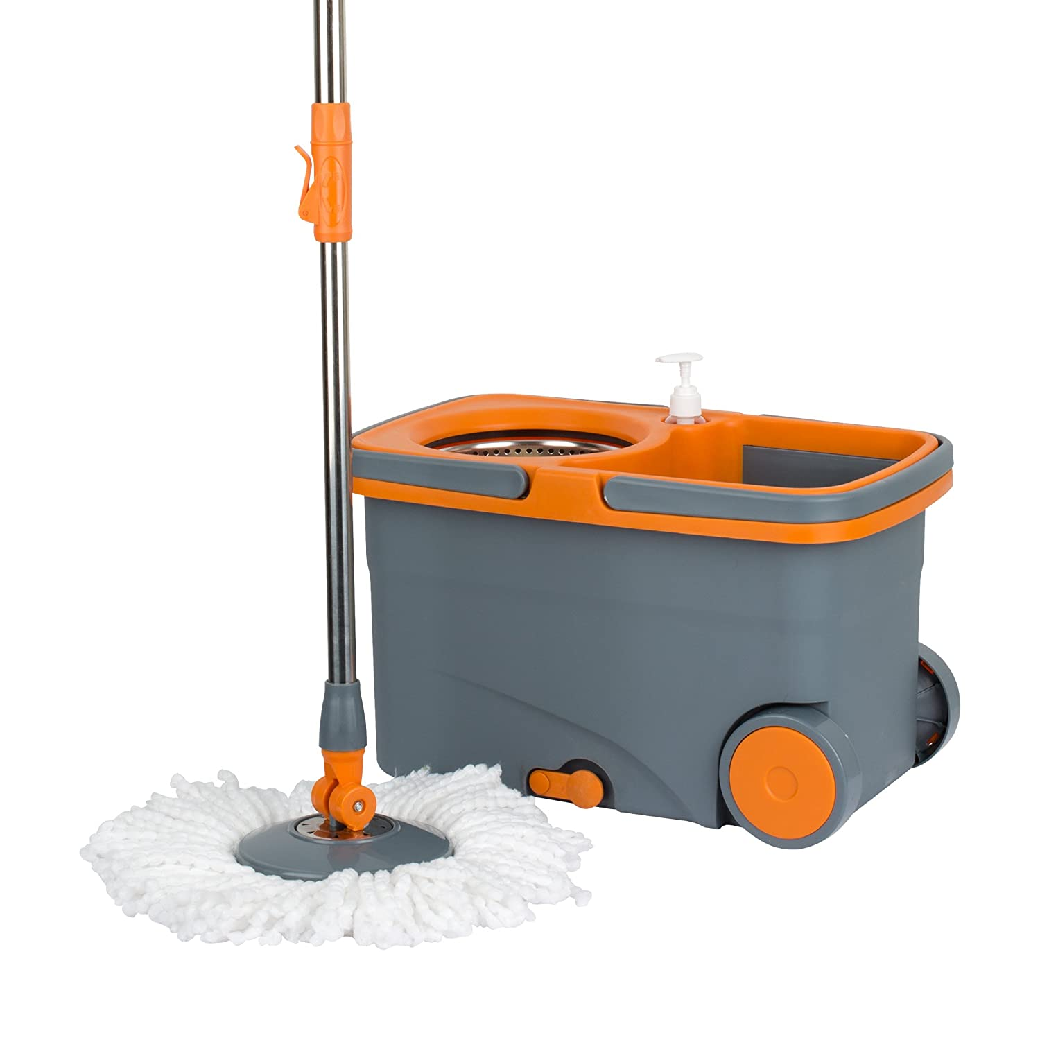Twist and shout mop review - Amazon Com Casabella Spin Cycle Mop With Bucket Graphite Orange Home Kitchen