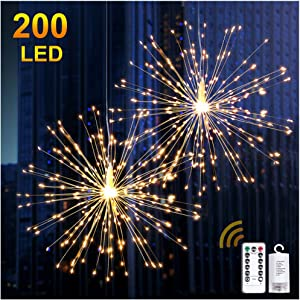 DenicMic 2Pcs Starburst Lights 200 LED Firework Lights Copper LED Lights, 8 Modes Fairy Lights with Remote, Hanging Ball Lights for Christmas Bedroom Party Indoor Outdoor Decoration (Warm White)