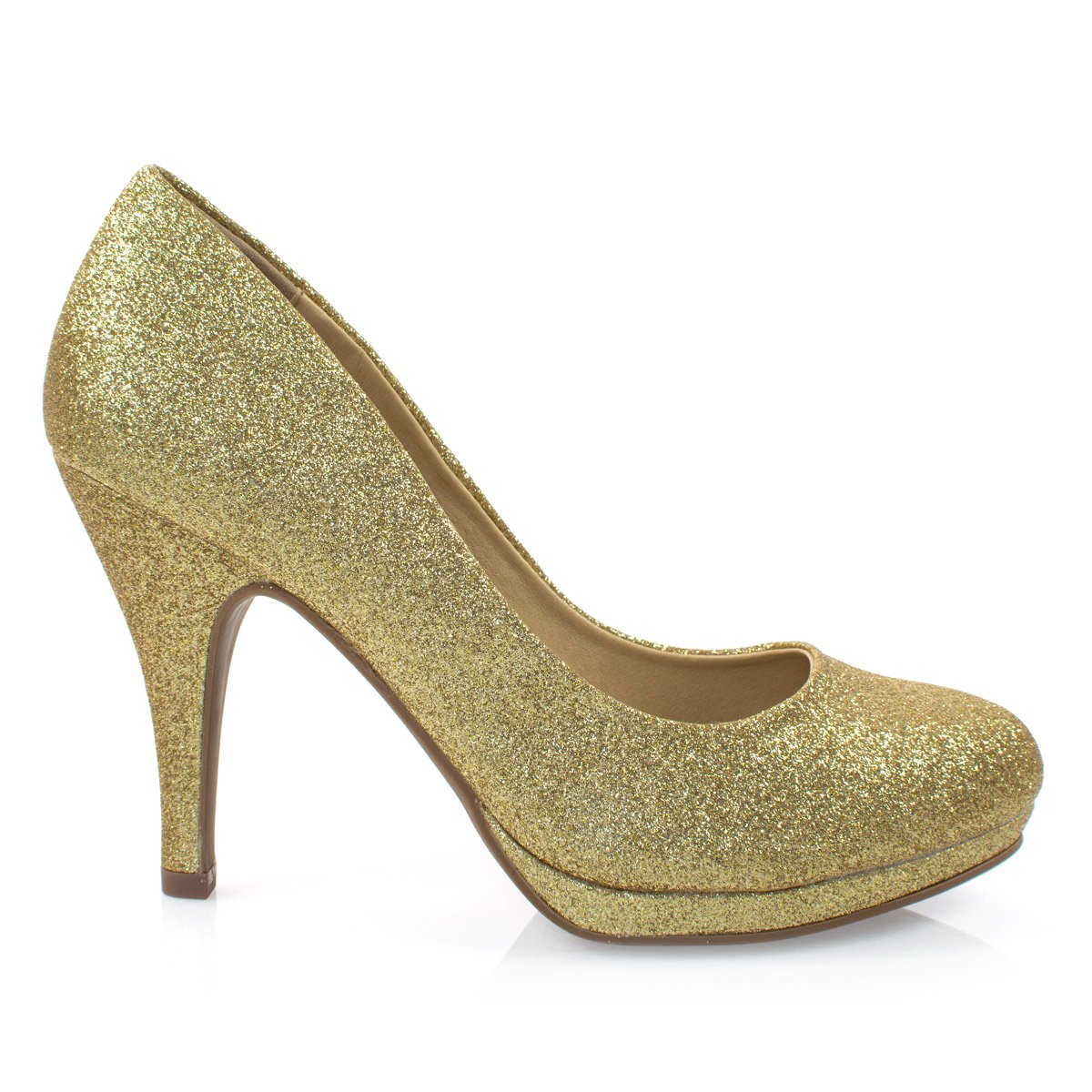 Women's Classic Dress Pump W Extra Cushioned in Sole Round Toe & Platform,Goldglt,8 by City Classified (Image #1)