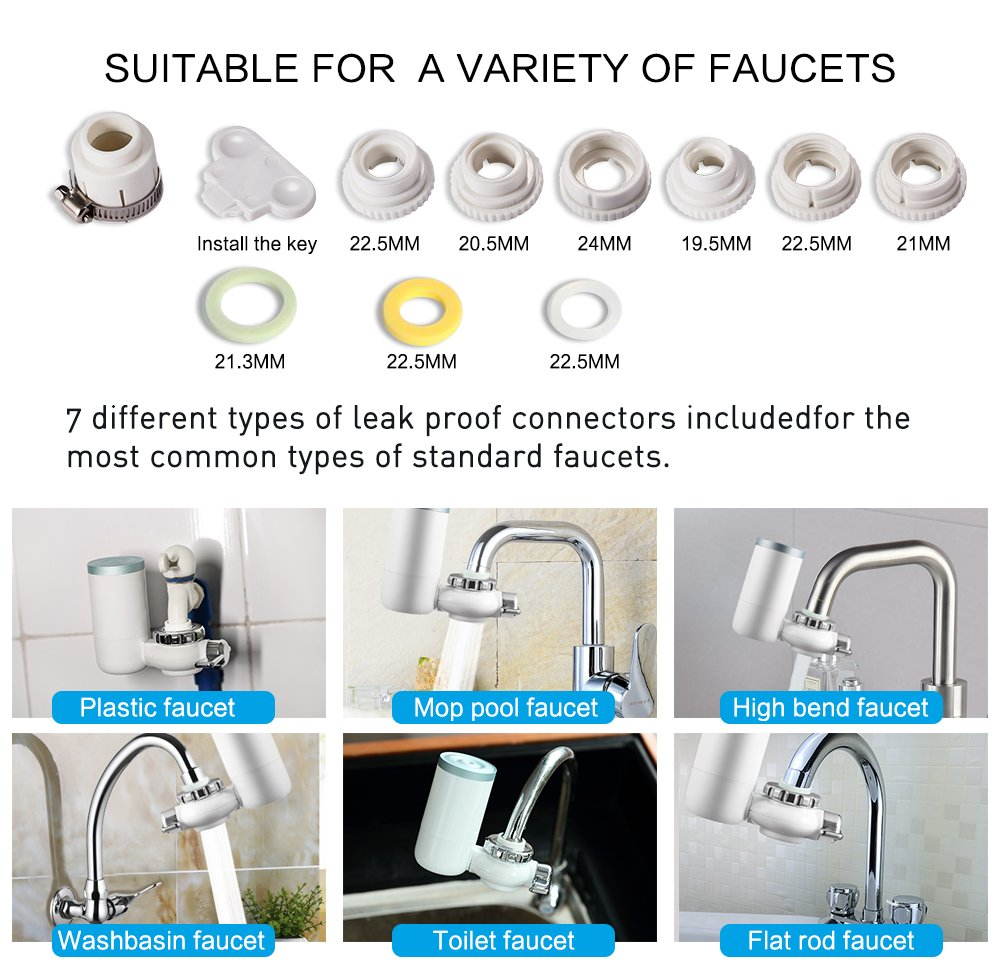 Kaleidoscope Faucet Water Filter, 8 Stage Water Filtration Faucet Mount, 7 Different Kinds of Interfaces, Suitable for Most Faucets, Easy to Install, Large Filtration Discharge System White and Bule by Kaleidoscope (Image #7)